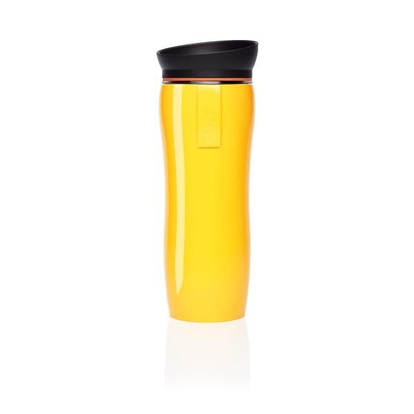 shuyao yellow glossy tea maker - blickdichter thermobecher in gelb mit deckel in schwarz