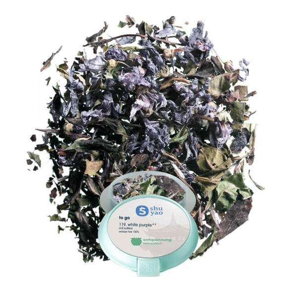 119. white purple tee in tagesdose einzeln recyclebar