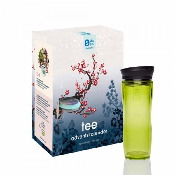 shuyao tea advent calendar to go - 24x adventstee in naturreiner blattqualität mit teamaker in grün