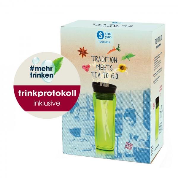 shuyao #mehrtrinken starter box to go- tee to go mit teebereiter grün inklusive trinkprotokoll für 6 wochen und tee in tagesdosen recyclebar