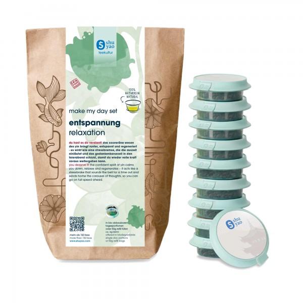 shuyao relaxation tea set- tee in probiertuete mit tee in tagesdosen recyclebar