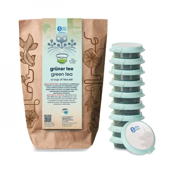 shuyao green tea set- grüner tee in probiertuete mit tee in tagesdosen recyclebar