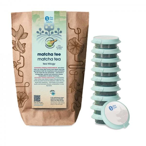 shuyao matcha tea set- matcha tee in probiertuete mit tee in tagesdosen recyclebar