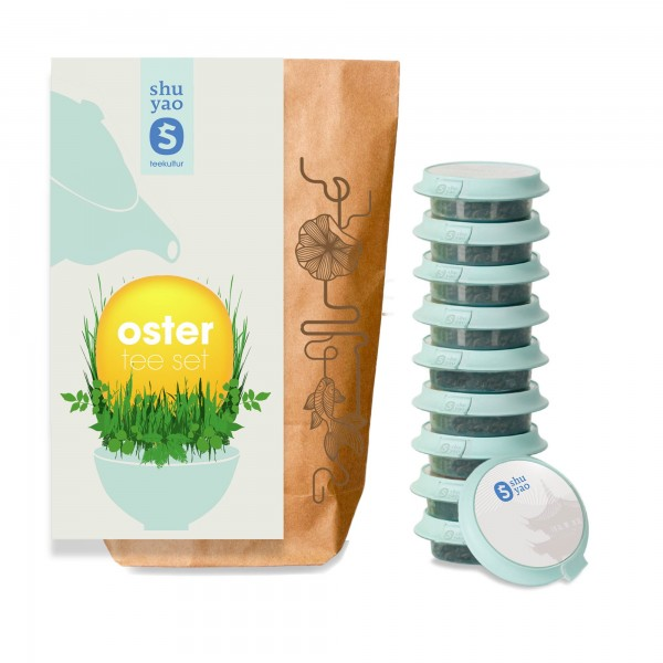 shuyao oster set - oster tee in probiertuete mit tee in tagesdosen recyclebar