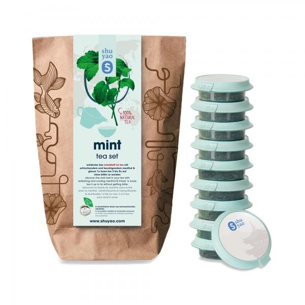shuyao mint tea set- minztee in probiertuete mit tee in tagesdosen recyclebar