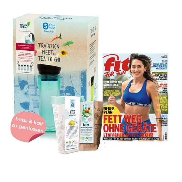 shuyao #mehrtrinken fitness box to go- #mehrtrinken trinkprotokoll mit teebereiter und fitness tee in naturreiner blattqualität