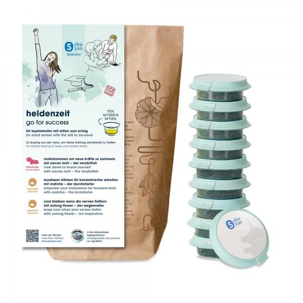 shuyao brainwork tea set- heldenzeit tee in probiertuete mit tee in tagesdosen recyclebar