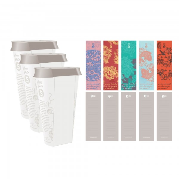 china refill caddy set - 3 recyclebare vorratsdosen inklusive aufkleber