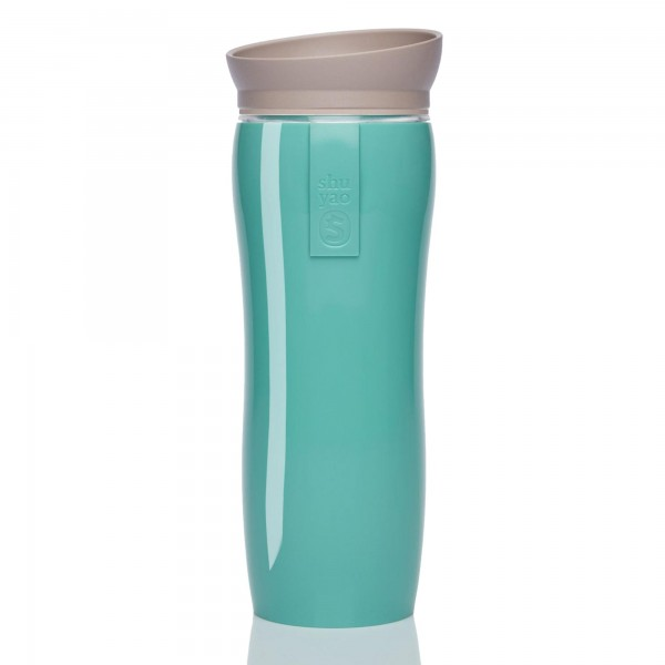 shuyao mint glossy tea maker - blickdichter thermobecher in mint mit deckel in taupe