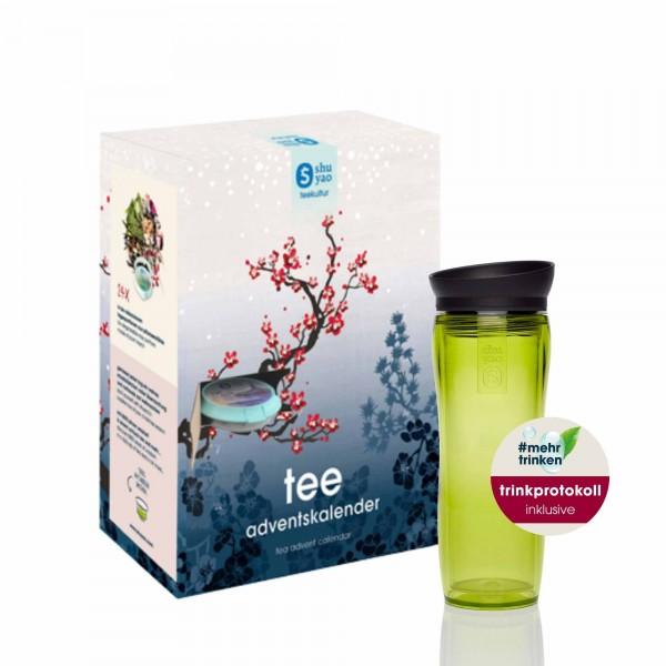 shuyao #mehrtrinken tea advent calendar to go - adventstee mit teamaker in grün und trinkprotokoll