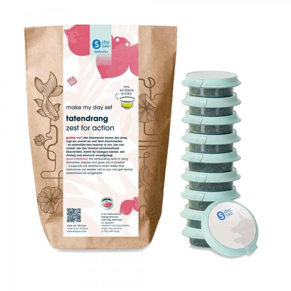 shuyao action tea set- tee in probiertuete mit tee in tagesdosen recyclebar