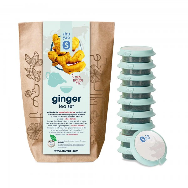 shuyao ginger tea set- ingwertee in probiertuete mit tee in tagesdosen recyclebar