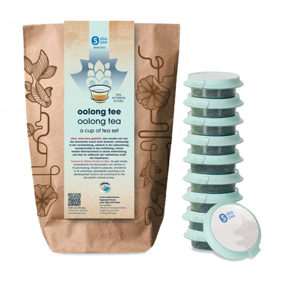 shuyao oolong tea set- oolong tee in probiertuete mit tee in tagesdosen recyclebar