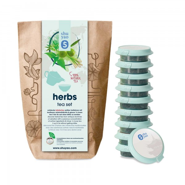 shuyao herbs tea set- kräutertee in probiertuete mit tee in tagesdosen recyclebar