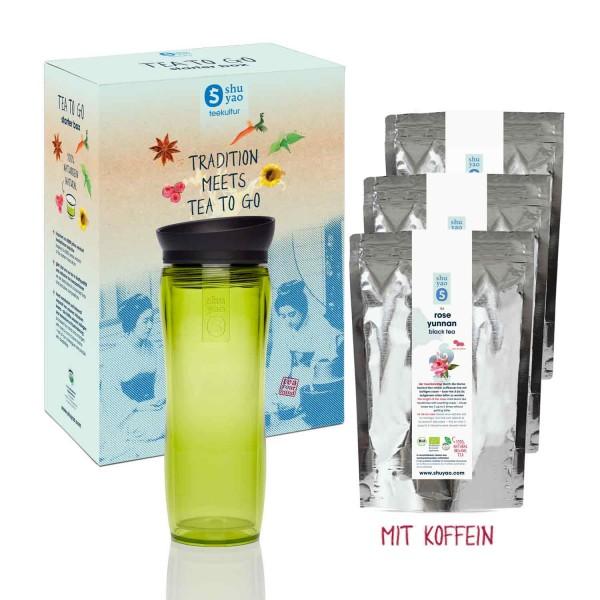 shuyao tea box to go delights - tee mit teebereiter in grün und tee mit koffein