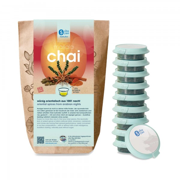 shuyao chai masala tea set- chai tee in probiertuete mit tee in tagesdosen recyclebar