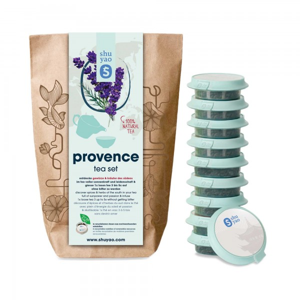 shuyao provence tea set- kräutertee in probiertuete mit tee in tagesdosen recyclebar