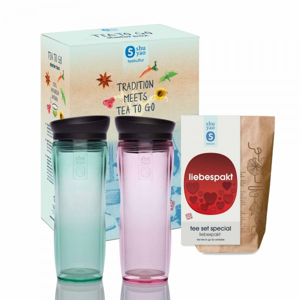 shuyao lovers tea to go sets - valentinstag tee to go mit teebereiter in jade und lady pink und tee in tagesdosen recyclebar