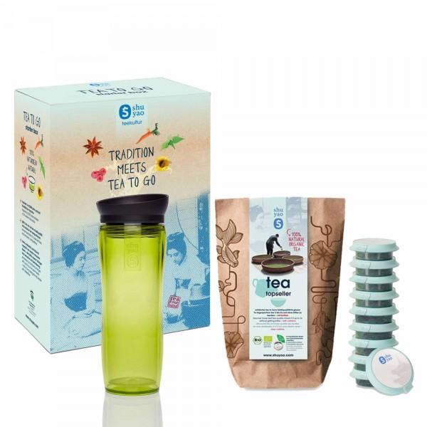 shuyao starter box tea to go - topseller tee mit teebereiter in grün und tee in tagesdosen recyclebar