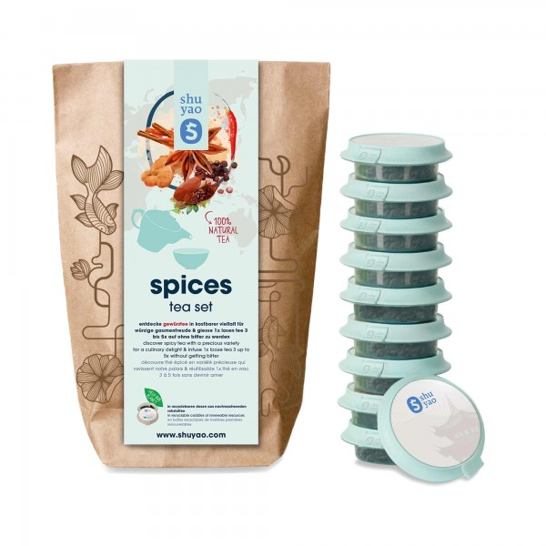 shuyao spices tea set- gewürztee in probiertuete mit tee in tagesdosen recyclebar