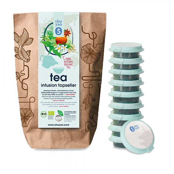 shuyao tea collection- tee ohne koffein in probiertuete mit tee in tagesdosen recyclebar