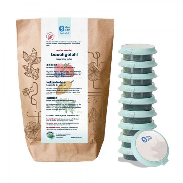 shuyao happy belly tea set- schwangerschaftstee in probiertuete mit tee in tagesdosen recyclebar